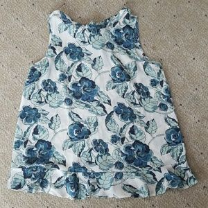 Loft White and Blue Floral Tank